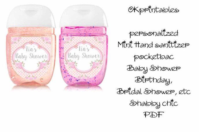Shabby Chic Baby Shower Bridal Shower Birthday Hand Sanitizer