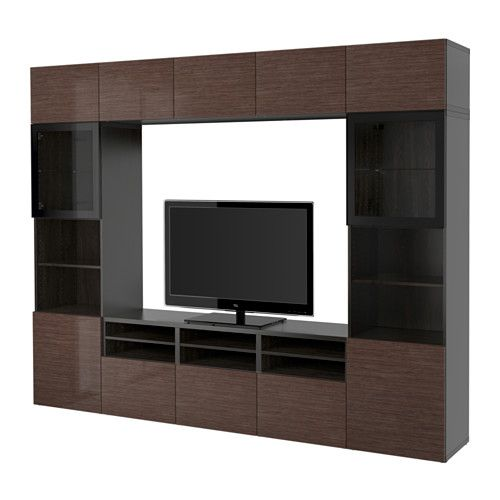 BESTÅ TV storage combination/glass doors - black-brown/Selsviken