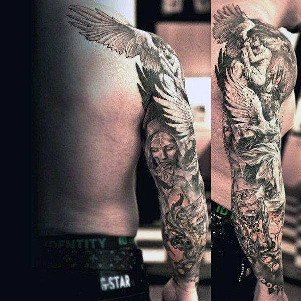 Top 73 Angel Tattoo Ideas 2020 Inspiration Guide Angel Tattoo Men Sleeve Tattoos Tattoos