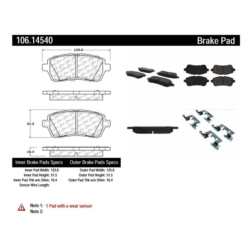 Centric Parts Disc Brake Pad Set 2014 2017 Ford Fiesta 1 0l 106 14540 The Home Depot Brake Pads Ford Fiesta Pad
