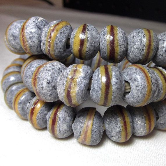African Beads Powder Glass Trade beads in stone and by starbazaar, $4.25