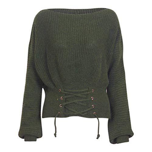 Damen Gestrickte Taille Kordelzug Zkooo Strickpulli Pullover Kreuz POXnk80w