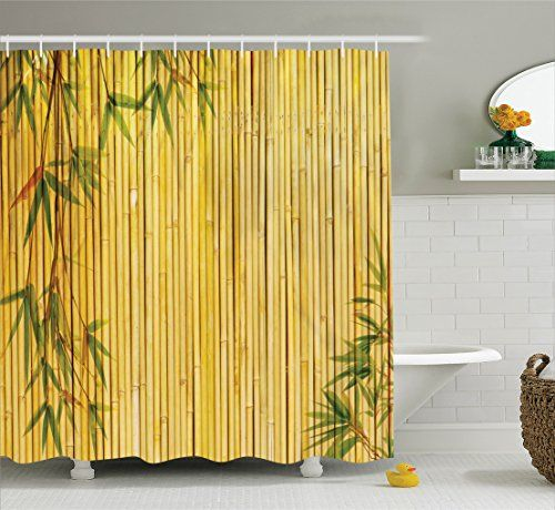 Exceptional Ambesonne Bamboo House Decor Collection, Light Golden Bamboo Background  With Tree Branches Exotic Plants Zen · Bathroom Shower CurtainsGreen ...