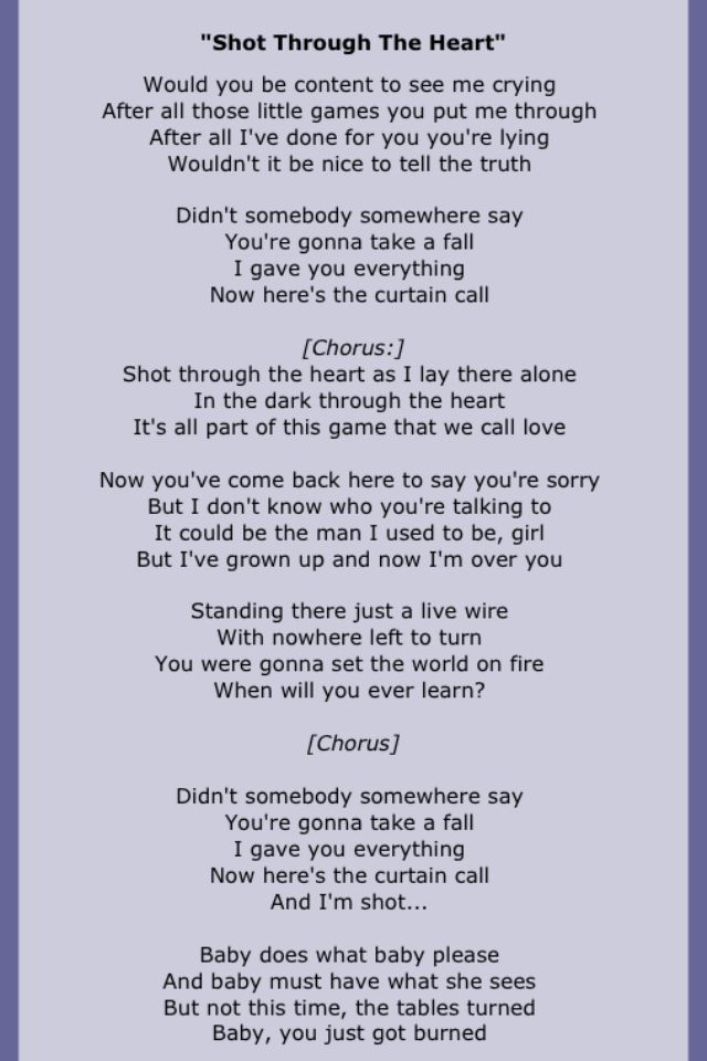 Bon Jovi Shot Through The Heart Great Song Much Overlooked Great Song Lyrics Song Lyrics Rock Just Lyrics