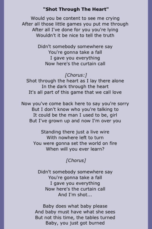 Lyric flashdance lyrics : Bon Jovi - Shot Through the Heart. Great song, much overlooked ...