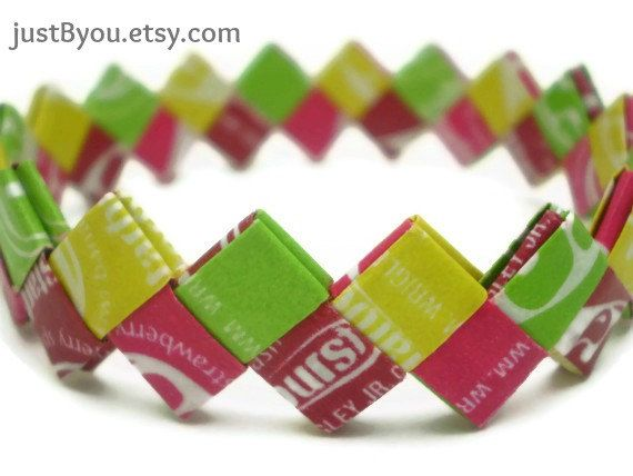 Starburst Fiesta-Flavor Recycled/Upcycled Candy Wrapper Bracelet