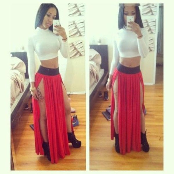 Sexy Black Red High Waist Double Slit Front Rayon Jersey Long Maxi ...
