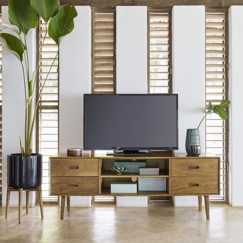 Mobile TV vintage a 4 cassetti in legno massello di acacia