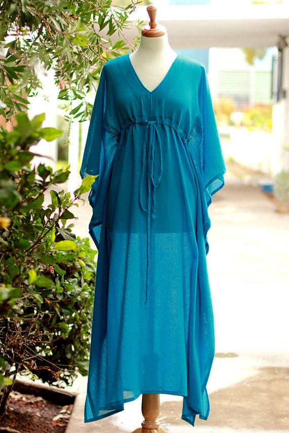 1e86ba07f1 Caftan Maxi Dress - Beach Cover Up Kaftan in Teal Cotton Gauze ...