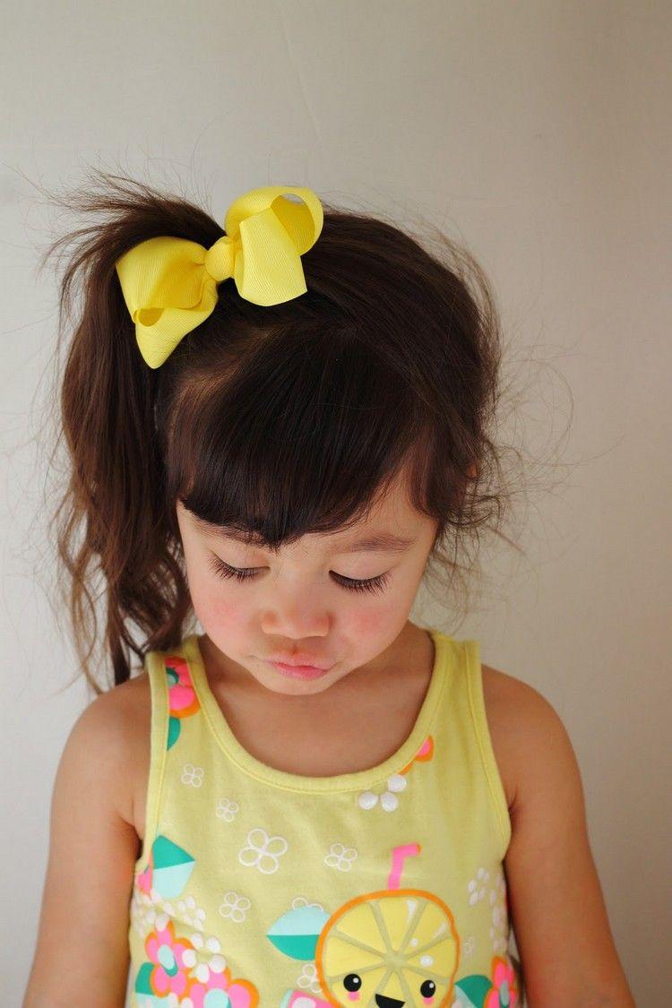 Frisuren für kleine Mädchen Pfedeschwanz Oberkopf seitlich