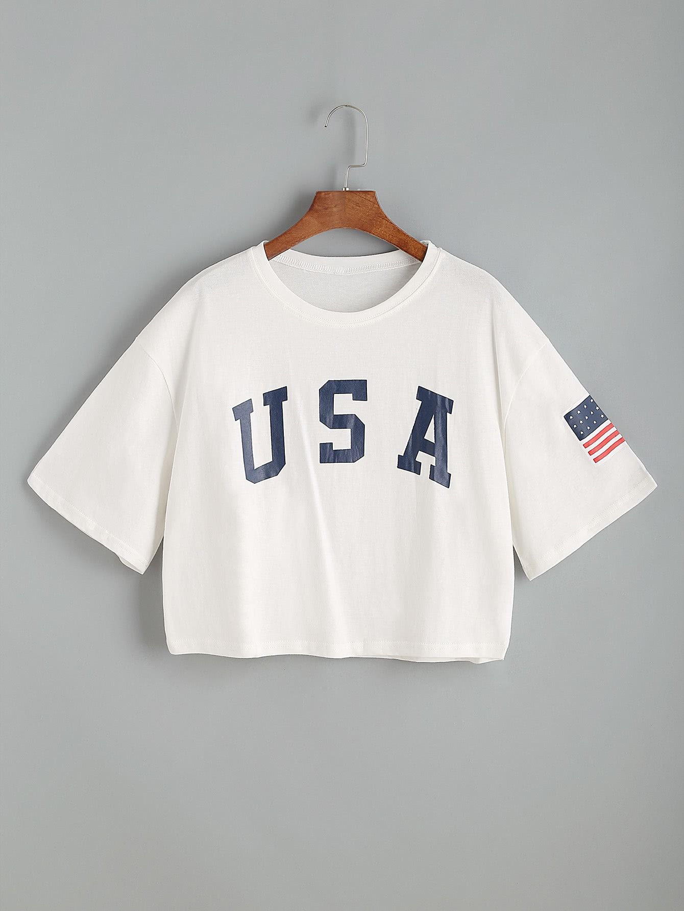 21f4be655b USA Flag Print Drop Shoulder Crop Tee -SheIn(Sheinside) | Summer ...
