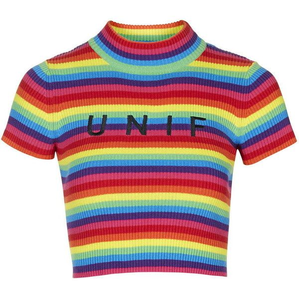 336085afdd6f71 TOPSHOP Logo Rainbow Tee by UNIF ( 79) ❤ liked on Polyvore featuring tops