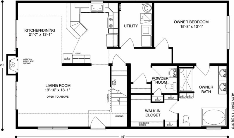 Canyon View Plan B Floorplan Of Ameri Log Collection All American Homes Floor Plans How To Plan Closet Land