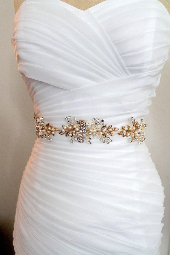 Gold Leaf Vine Wedding Dress Belt Boho Crystal Pearl Bridal Sash Rhinestone Flower Wire Silver FLORA