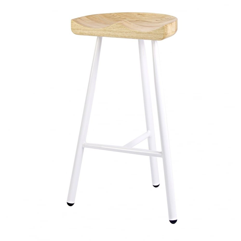 Fusion Living White 3 Leg Metal Bar Stool With Solid Light