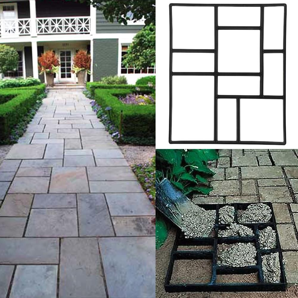 Topeakmart Garden Concrete Paving Pathway Patio Path Brick Stepping Stone  Mould Black   Walmart.com
