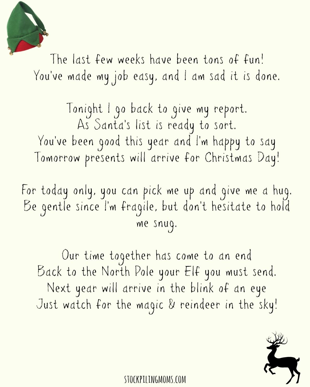 Elf On A Shelf Goodbye Letter Printable  Elves Free Printable And
