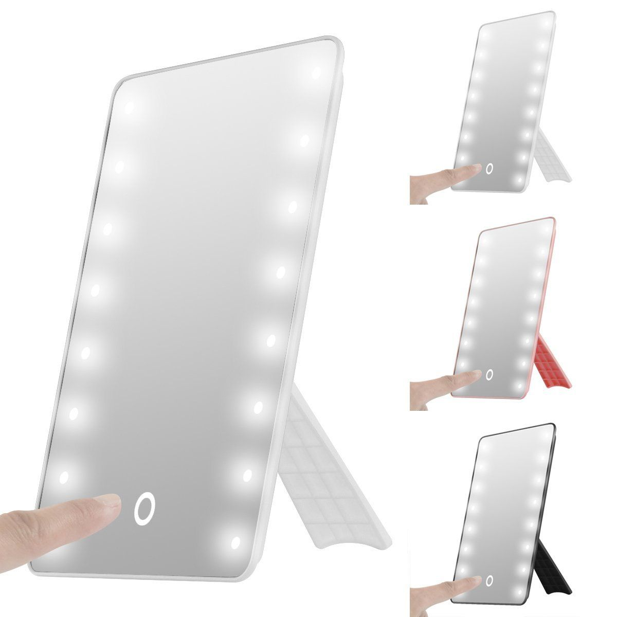 Foldable LED Lighted Vanity Mirror With Light, Oenbopo Smart Touch  Kickstand Lighted Vanity Mirror Makeup Cosmetic Countertop Cordless Table  Mirror ...
