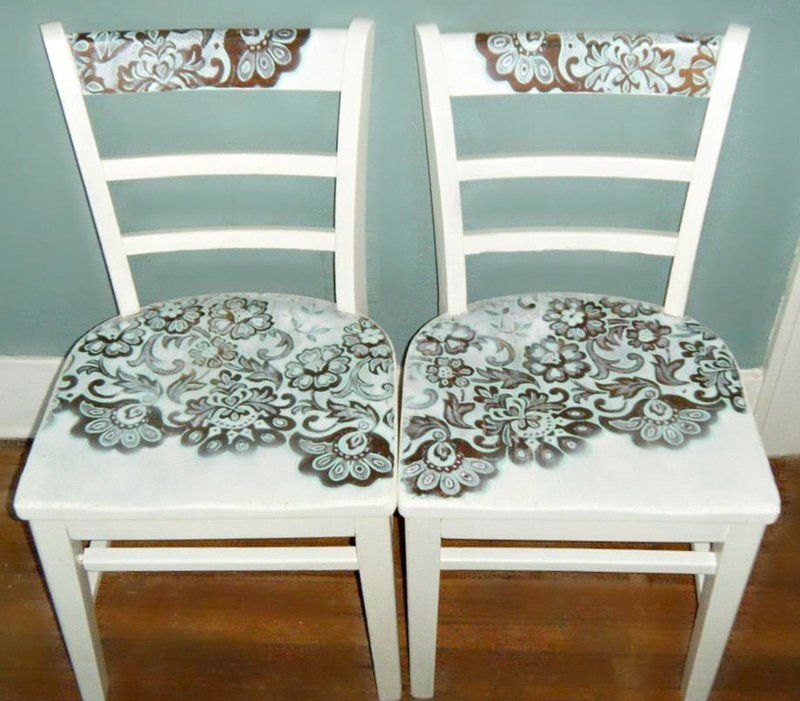 Transform old chairs with lace and chalk paint