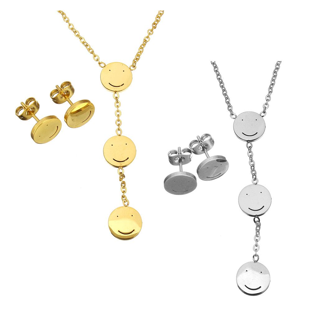 Fashion stainless steel jewelry sets women earring u necklace