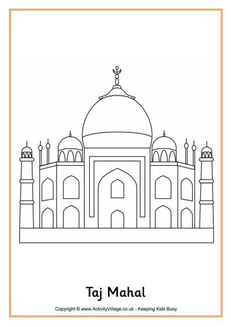 Taj Mahal Colouring Oage Taj Mahal Drawing Taj Mahal Art Taj Mahal Sketch