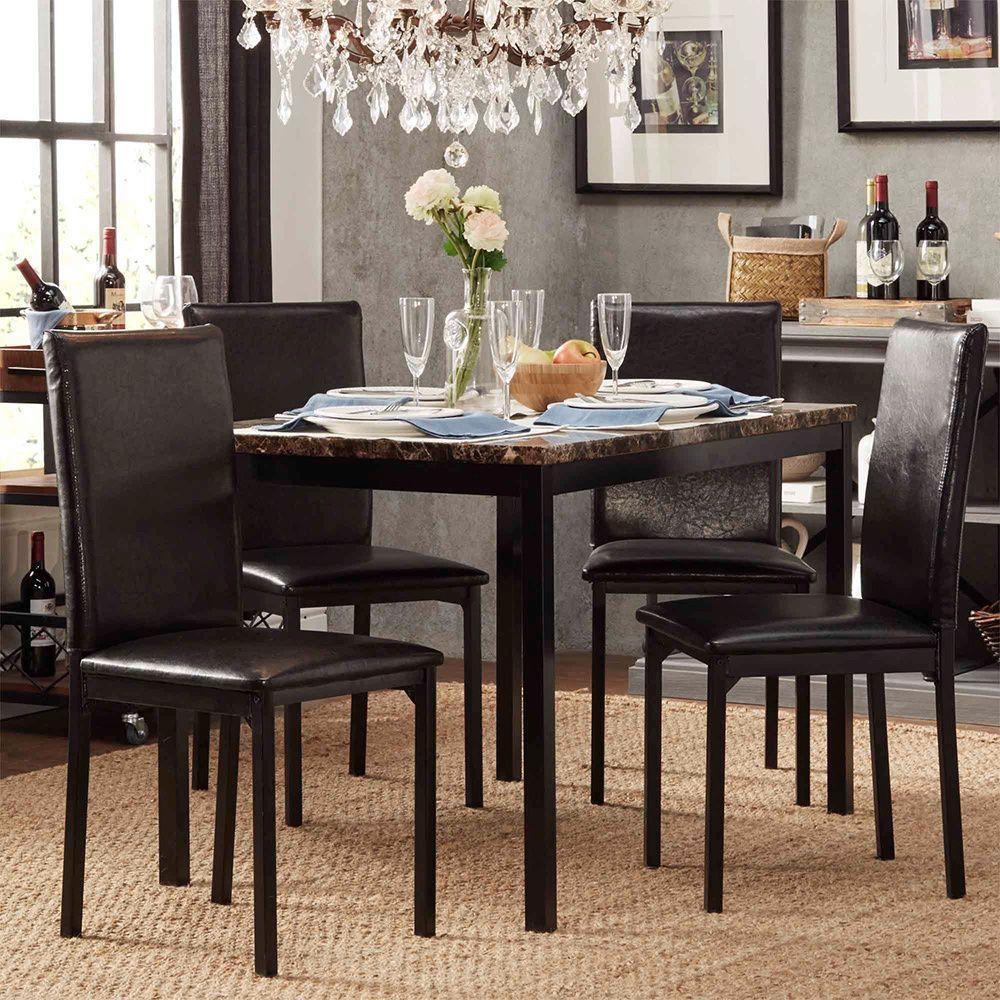 Inspire Q Darcy Faux Marble Top Black Metal 5-piece Casual Dining Set  (Darcy 5pcs Dining Set), Size 5-Piece Sets