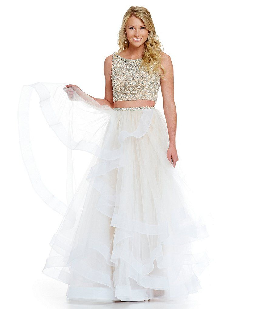 Glamour By Terani Couture Prom Layered Tulle Two Piece Beaded Crop Top Bodice Gown