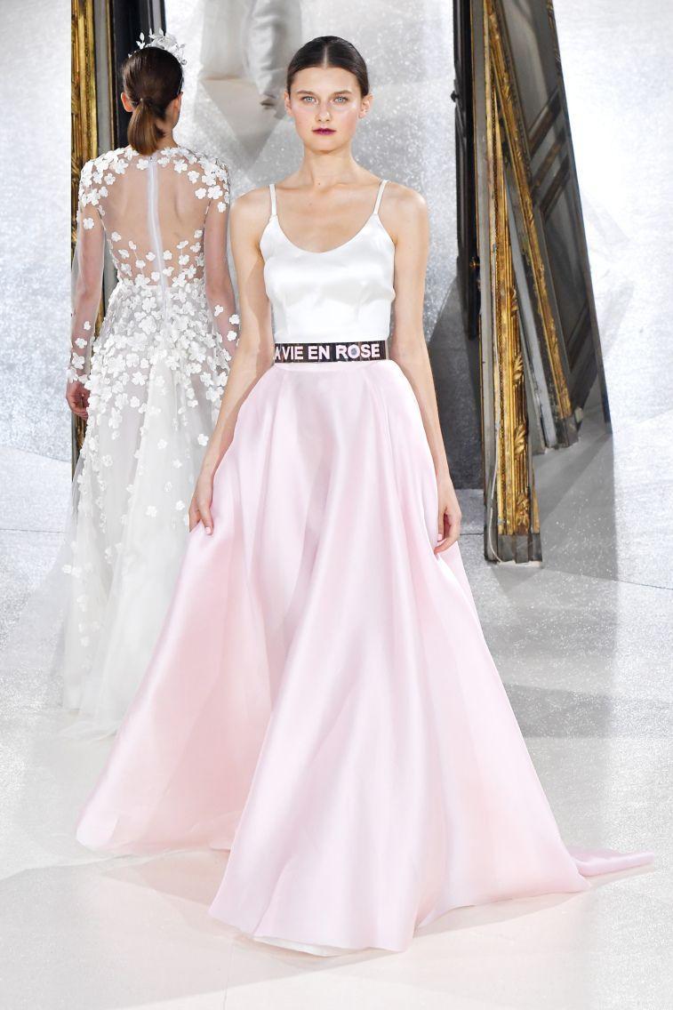 Kaviar Gauche Spring 2018 Wedding Dresses La Vie En Rose spaghetti straps scoop neckline blush ball gown wedding dress #weddingdress #weddinggown #floralapplique