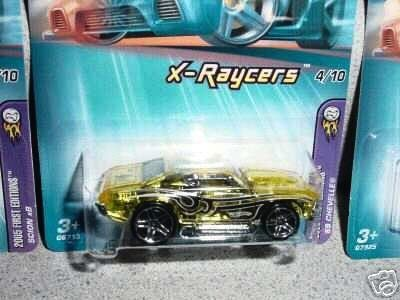 Mattel Hot Wheels 2005 First Editions 1:64 Scale X-Raycers Clear Yellow 1969 Chevelle Die Cast Car #056 by Mattel. $0.99. Mattel Hot Wheels 2005 First Editions 1:64 Scale X-Raycers Clear Yellow 1969 Chevelle Die Cast Car #056