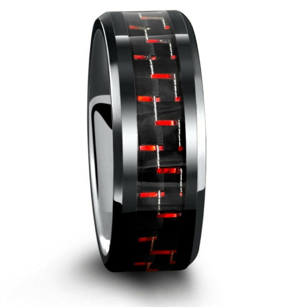 8mm Mens Black Tungsten Wedding Band With Red Carbon Fiber Inlay