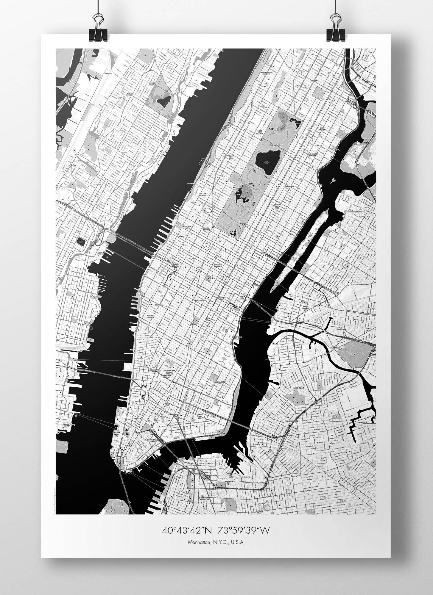 New York City Manhattan Map Poster B W Manhattan Map City
