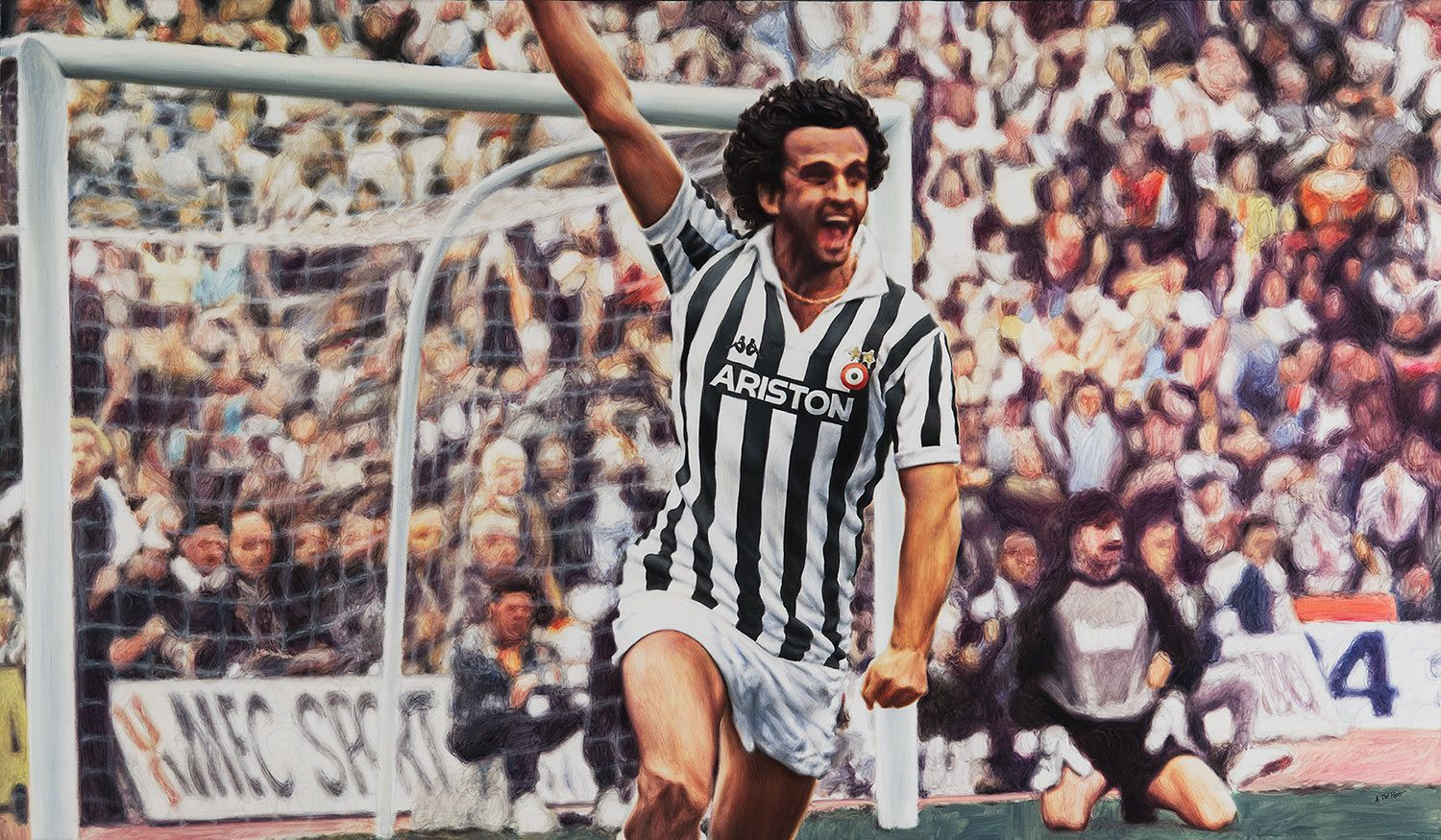 Torino 1983, Stadio Comunale: Michel Platini, Juventus F. C.  - Artwork by artist Andrea Del Pesco Oil painting on canvas, size cm. 120x70