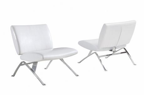 Best Monarch White Pu Chrome Metal Accent Chair For Sale At 400 x 300