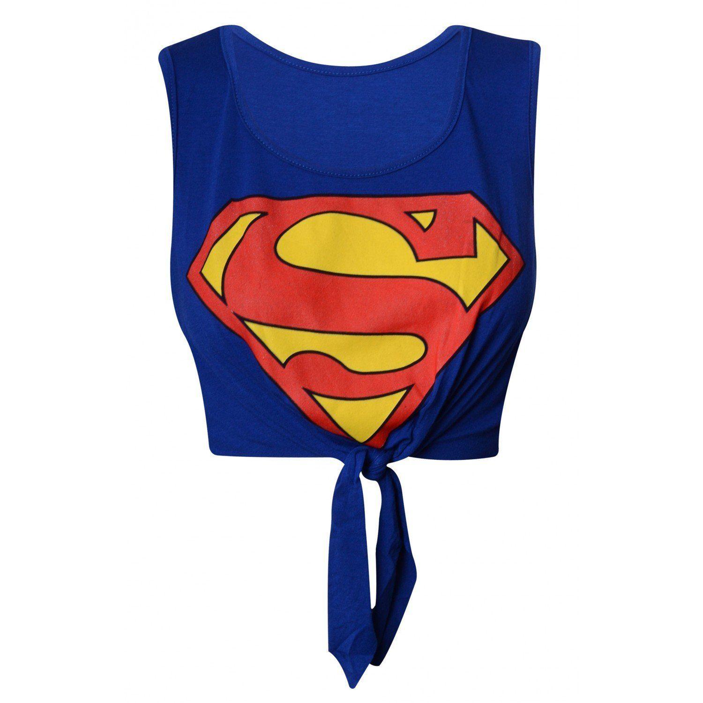 Superman Knot Crop Top: Amazon.co.uk: Clothing