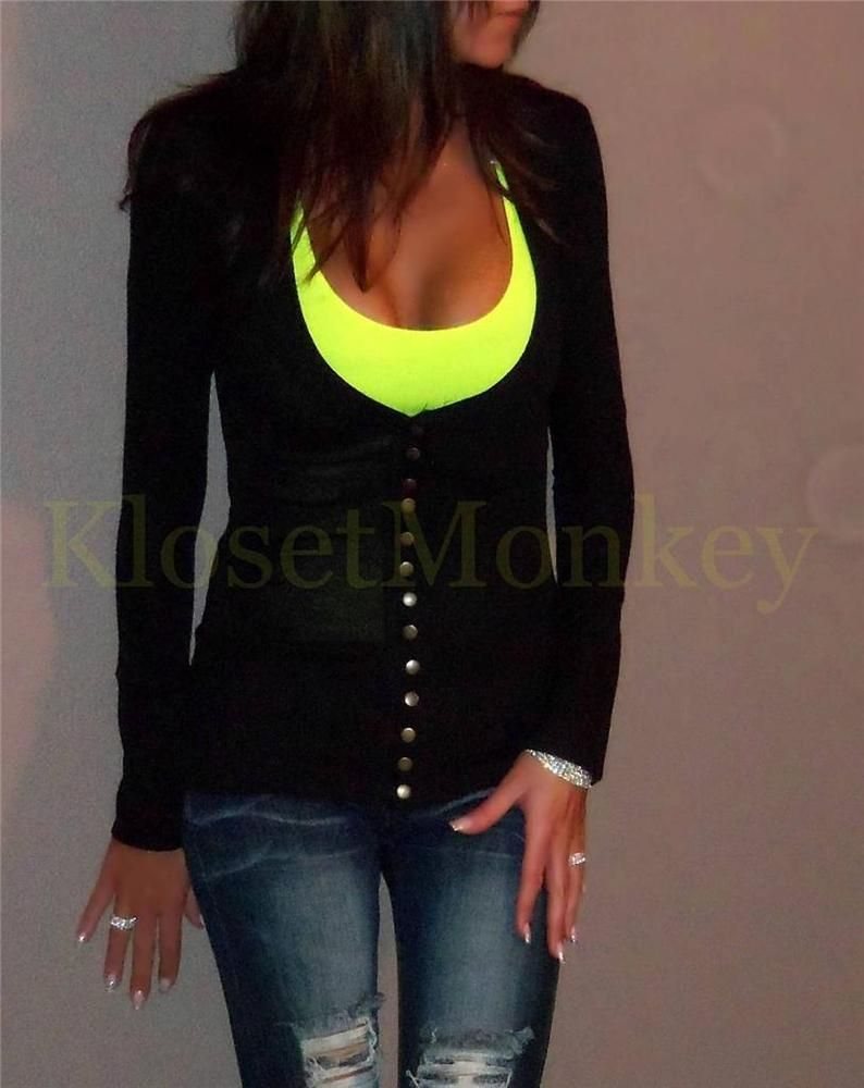 SEXY LOW CUT V-NECK SNAP SOLID BLACK L/S CARDIGAN LIGHT WEIGHT ...