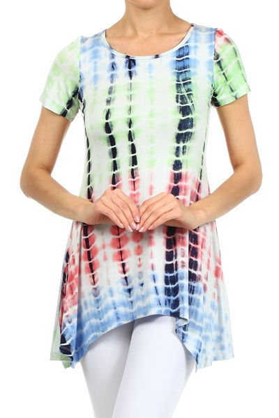 53507653a693cc PLUS SIZE SHORT SLEEVE GREEN MULTI COLOR TIE DYE FLOWY TUNIC TOP BLOUSE 1X  2X 3X #AllAboutTheGirl #Tunic #Any