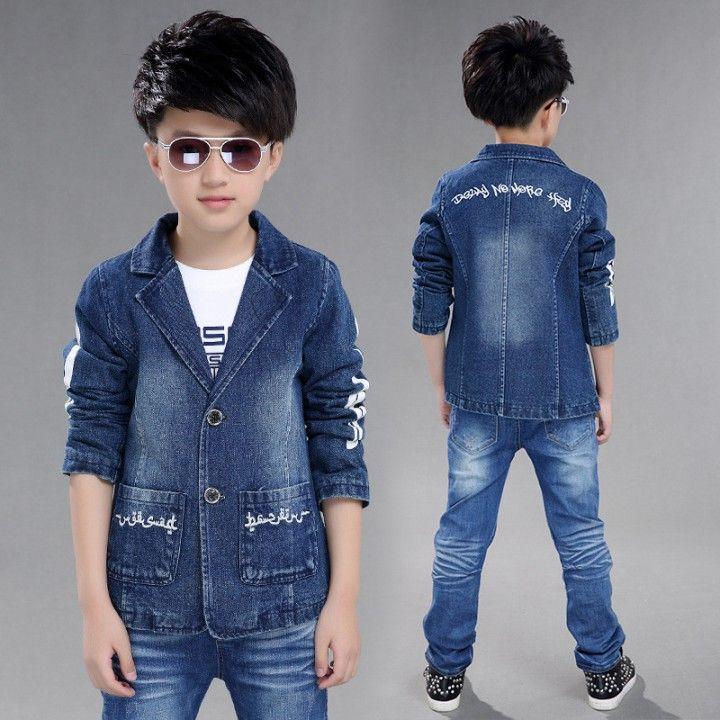 CH04426 Denim child coat big child boy tops