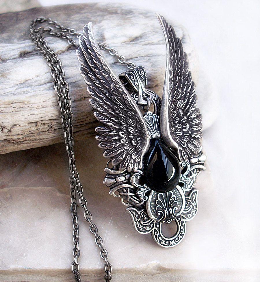 Silver Angel Wing Necklace Black Onyx Womens Mens by Aranwen, €70.00