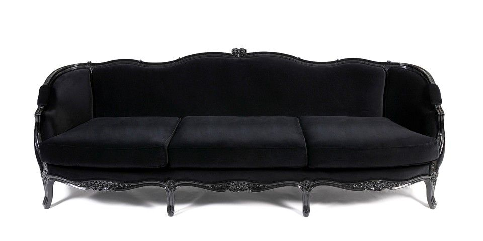 The Gothic Louis Xv Style Black Carved Sofa By Munna Is