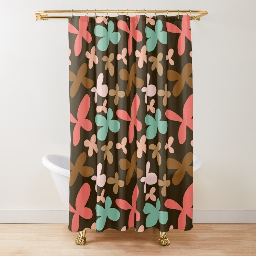 Coral Brown Pink Blue Floral On Brown Shower Curtain By Xayuk In 2020 Brown Shower Curtain Curtains Tubs And Showers