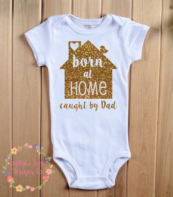 d4f57cf92 Born at Home Caught by Dad Infant Bodysuit, Birdie on Roof, Infant T-shirt,  Toddler T-shirt, Home Bi