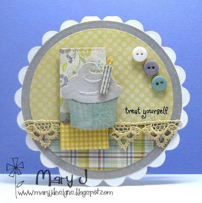 card cupcake ice cream muffin Birthday card using Marianne Design  Creatable dies