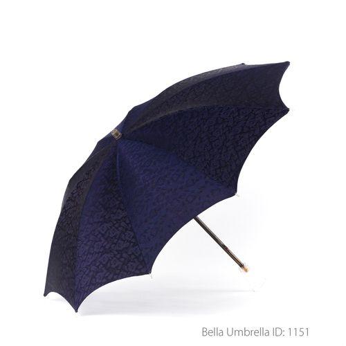 Umbrella ID 1151 | Navy Blue Satin Floral Jacquard Tonal Print Umbrella | Clear Handle | Bella Umbrella | Vintage Umbrella Rentals
