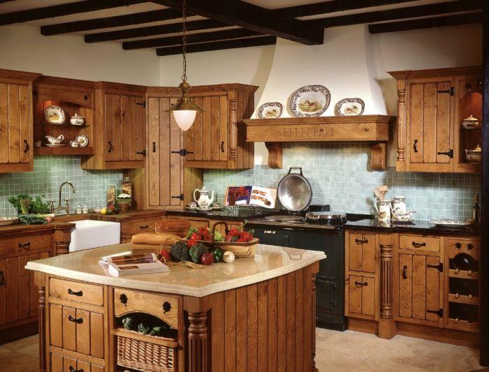 cocinas rusticas modernas, cocina rustica con isla cuadrada