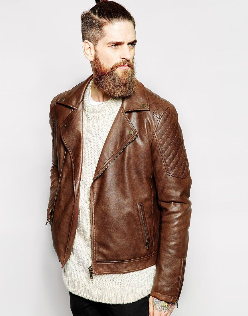 Image 1 of Only & Sons Faux Leather Biker | Urban - Men's Fashion ...