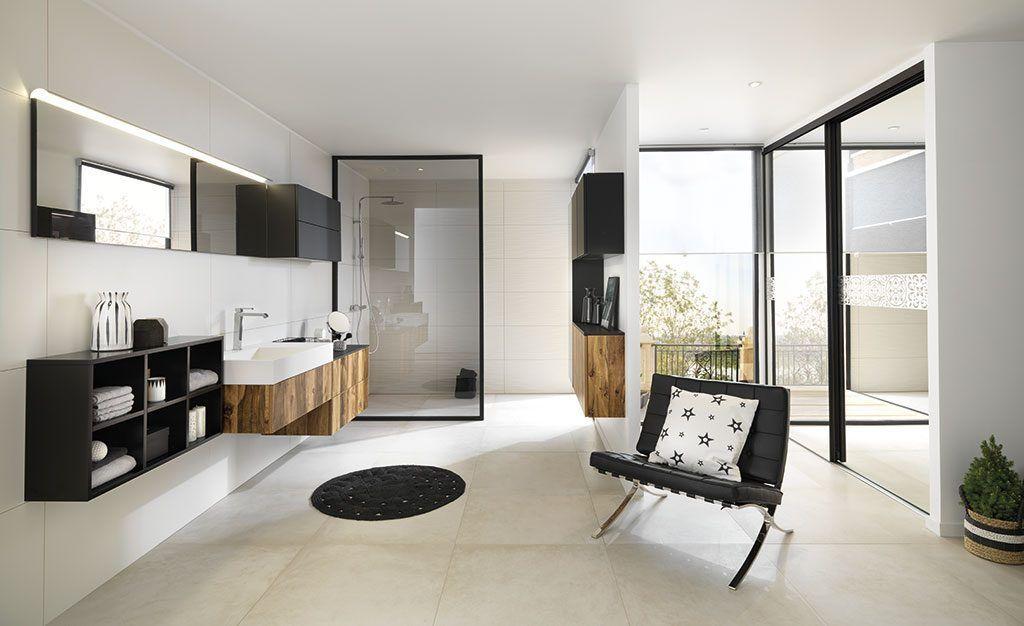Salle de bains moderne - blanc bois noir - Blog Schmidt Salle de