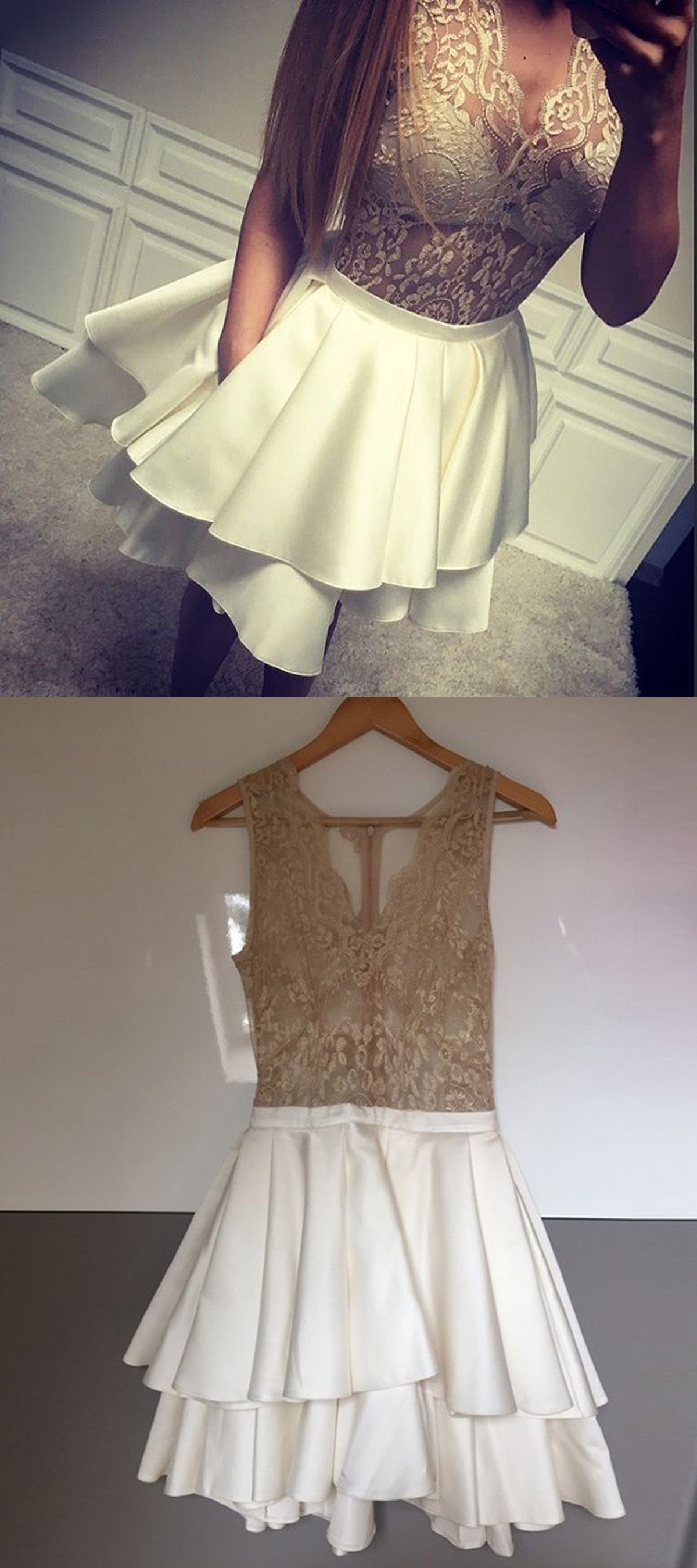 Aline vneck illusion lace top white short homecoming dress with