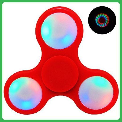 N JOY Red LED Glow Premium Fid Spinner Toy Stress Reducer Anti