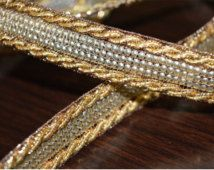 Beautiful White Pearls /& gold metallic Ribbon trimming for Crafting 1 yard