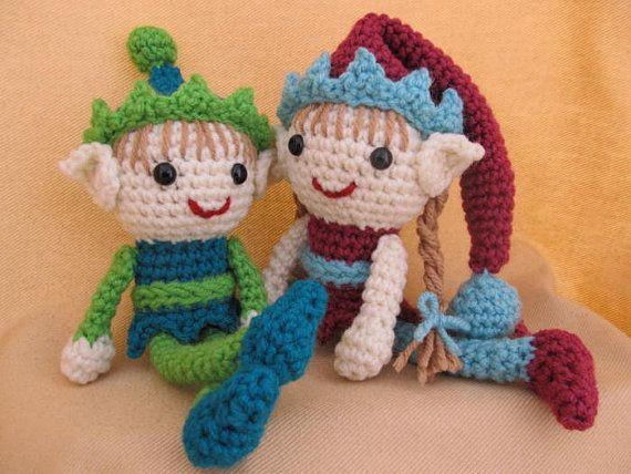 Amigurumis Navideños Patrones Gratis : Elliot y ellen elfos duende crochet patrón de por craftydebdesigns